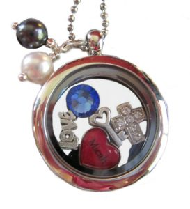 Locket pendant with gems charms name
