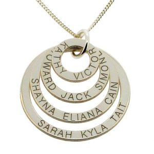 Four ring pendant with engraved names